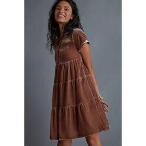 New Anthropologie Harper Velvet Tunic Dress by Maeve $158  X-SMALL  Mushroom
